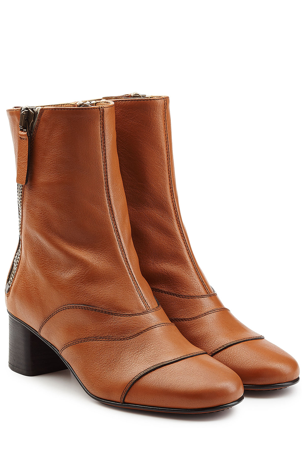 Leather Ankle Boots - predominant colour: camel; occasions: casual; material: leather; heel height: mid; heel: block; toe: round toe; boot length: ankle boot; style: standard; finish: plain; pattern: plain; wardrobe: basic; season: a/w 2016