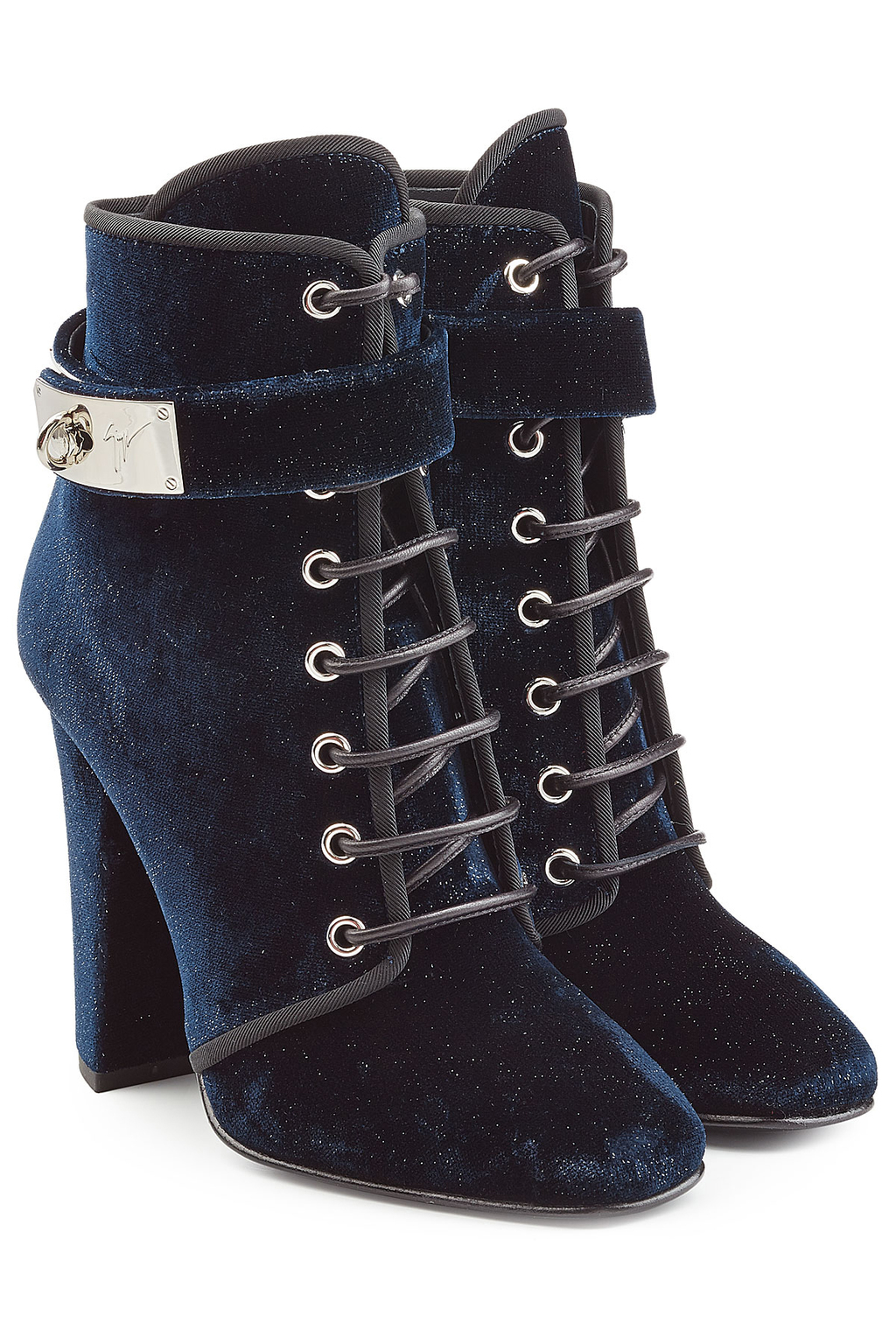 Velvet Ankle Boots Blue - predominant colour: navy; occasions: casual; material: velvet; heel height: high; heel: block; toe: round toe; boot length: ankle boot; style: standard; finish: plain; pattern: plain; season: a/w 2016; wardrobe: highlight