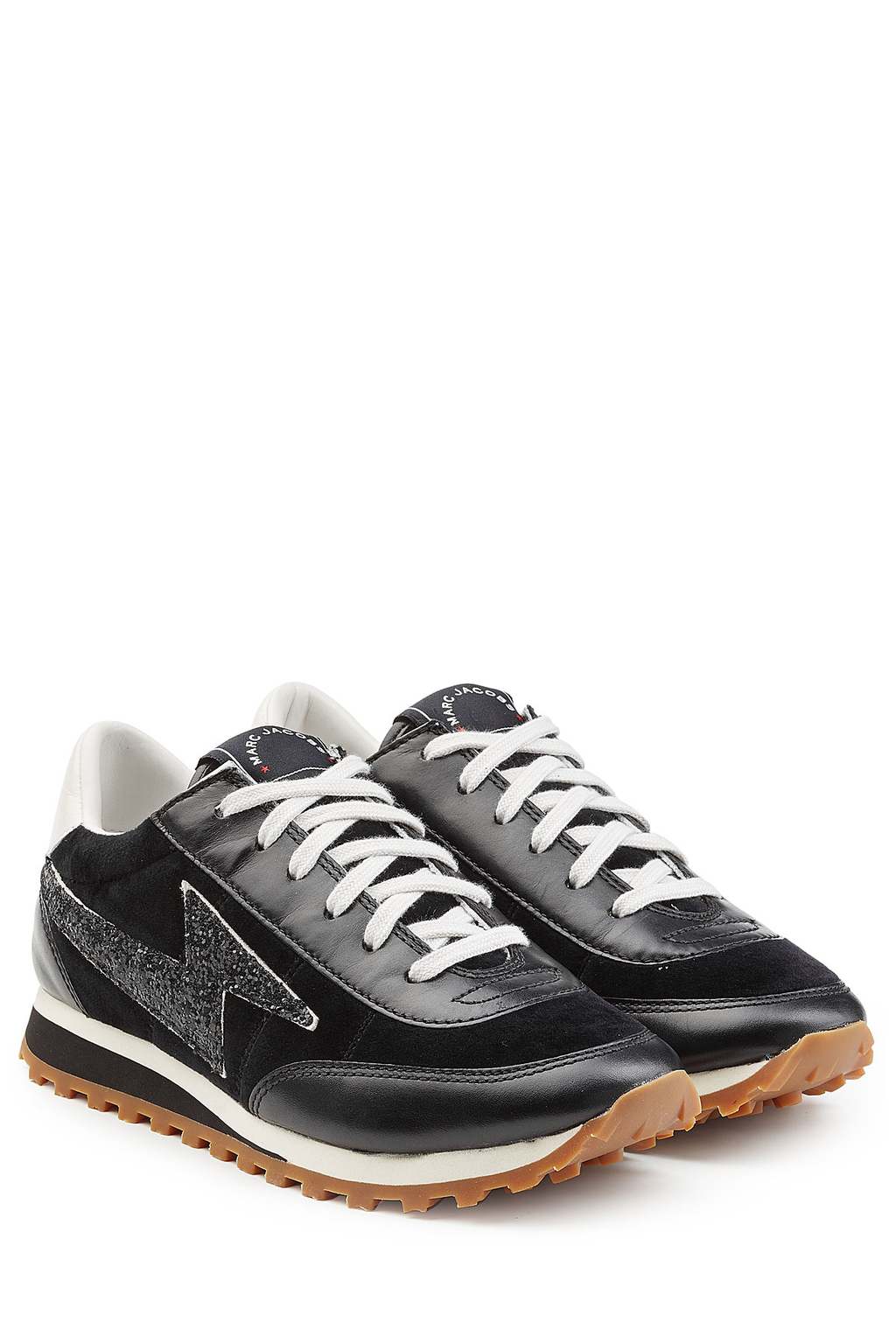Velvet And Leather Sneakers - predominant colour: black; occasions: casual, activity; material: leather; heel height: flat; toe: round toe; style: trainers; finish: plain; pattern: plain; season: s/s 2013; shoe detail: moulded soul