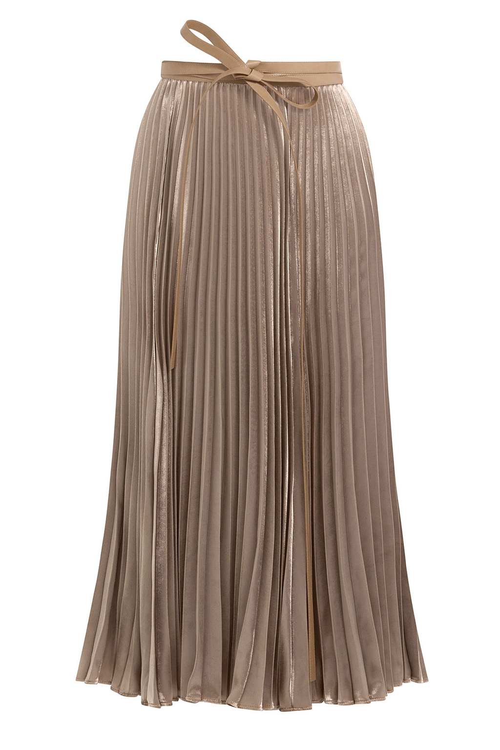 Pleated Velvet Skirt With Silk - length: below the knee; pattern: plain; fit: body skimming; style: pleated; waist detail: belted waist/tie at waist/drawstring; waist: mid/regular rise; predominant colour: camel; occasions: evening; fibres: silk - 100%; hip detail: subtle/flattering hip detail; pattern type: fabric; texture group: velvet/fabrics with pile; season: a/w 2016; wardrobe: event