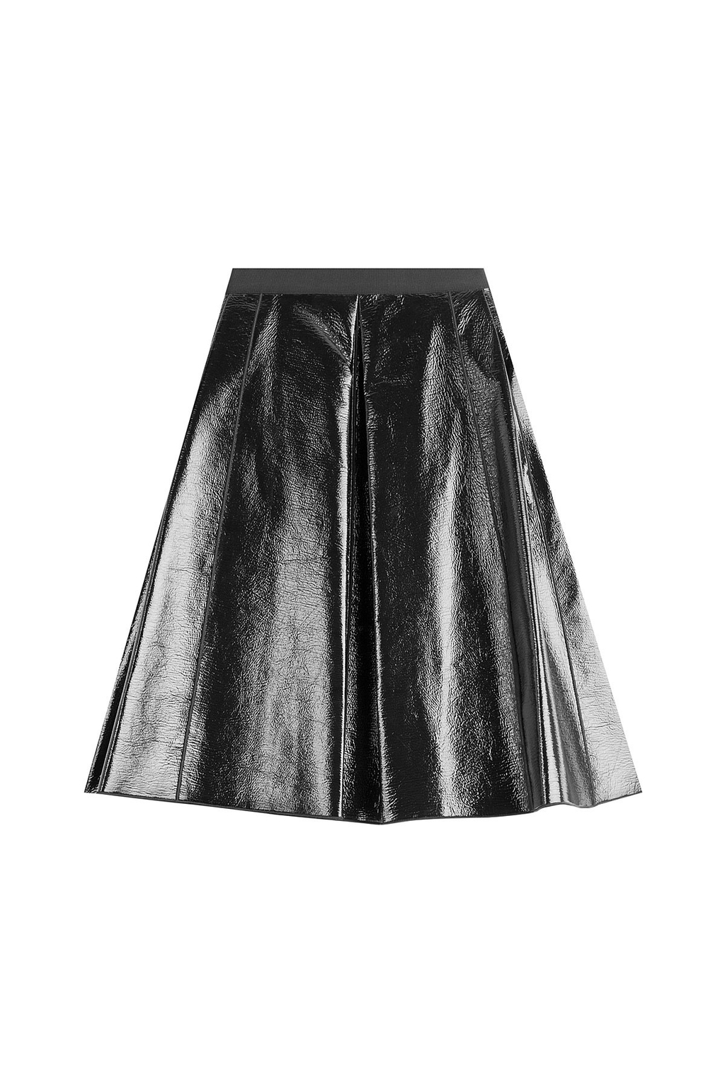 Faux Leather Skirt - pattern: plain; fit: loose/voluminous; waist: mid/regular rise; predominant colour: black; occasions: evening; length: on the knee; style: a-line; texture group: leather; pattern type: fabric; fibres: pvc/polyurethene - stretch; season: a/w 2016; wardrobe: event