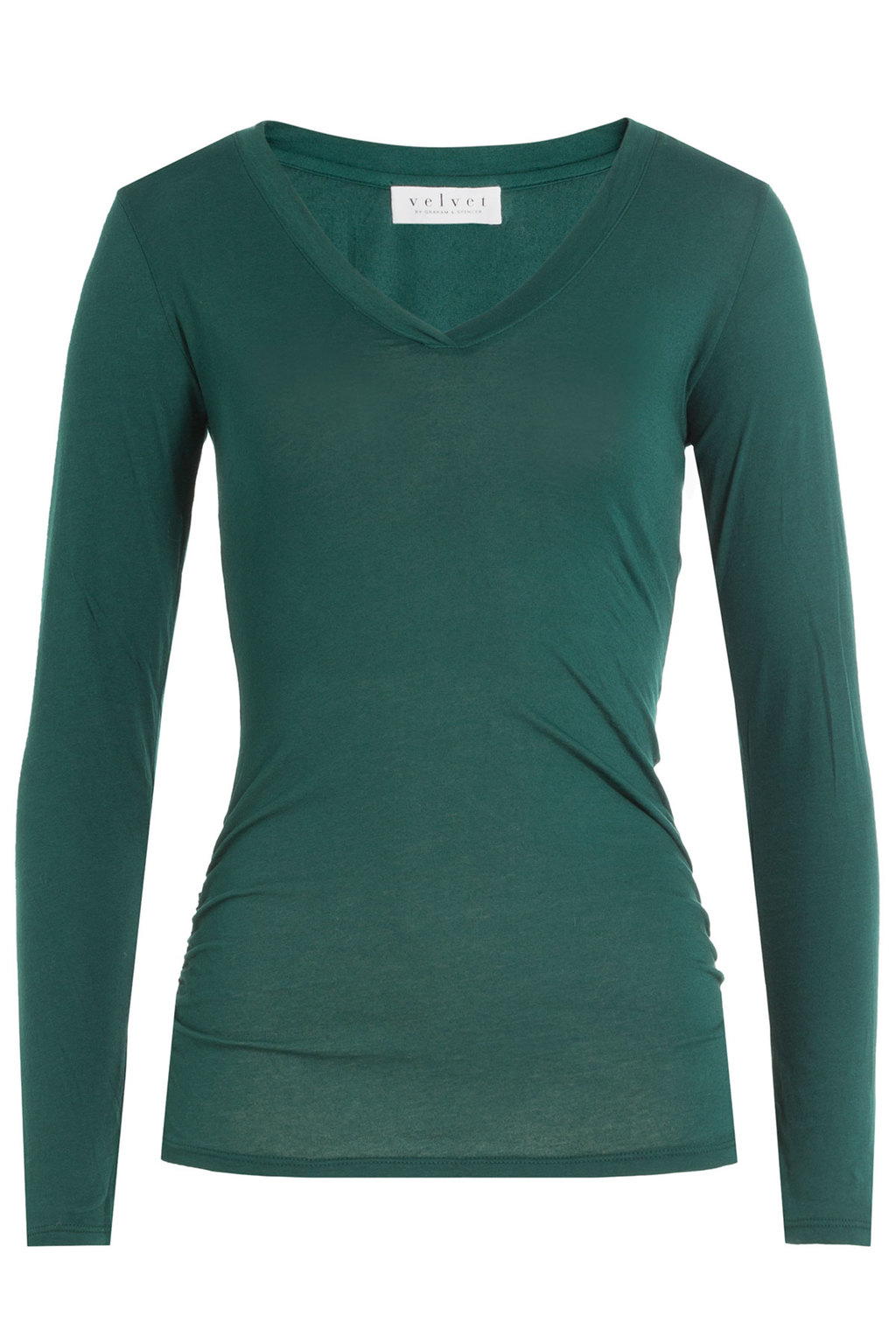 Long Sleeved Cotton Top - neckline: v-neck; pattern: plain; predominant colour: dark green; occasions: casual, work, creative work; length: standard; style: top; fibres: cotton - 100%; fit: body skimming; sleeve length: long sleeve; sleeve style: standard; pattern type: fabric; texture group: jersey - stretchy/drapey; season: a/w 2016; wardrobe: highlight