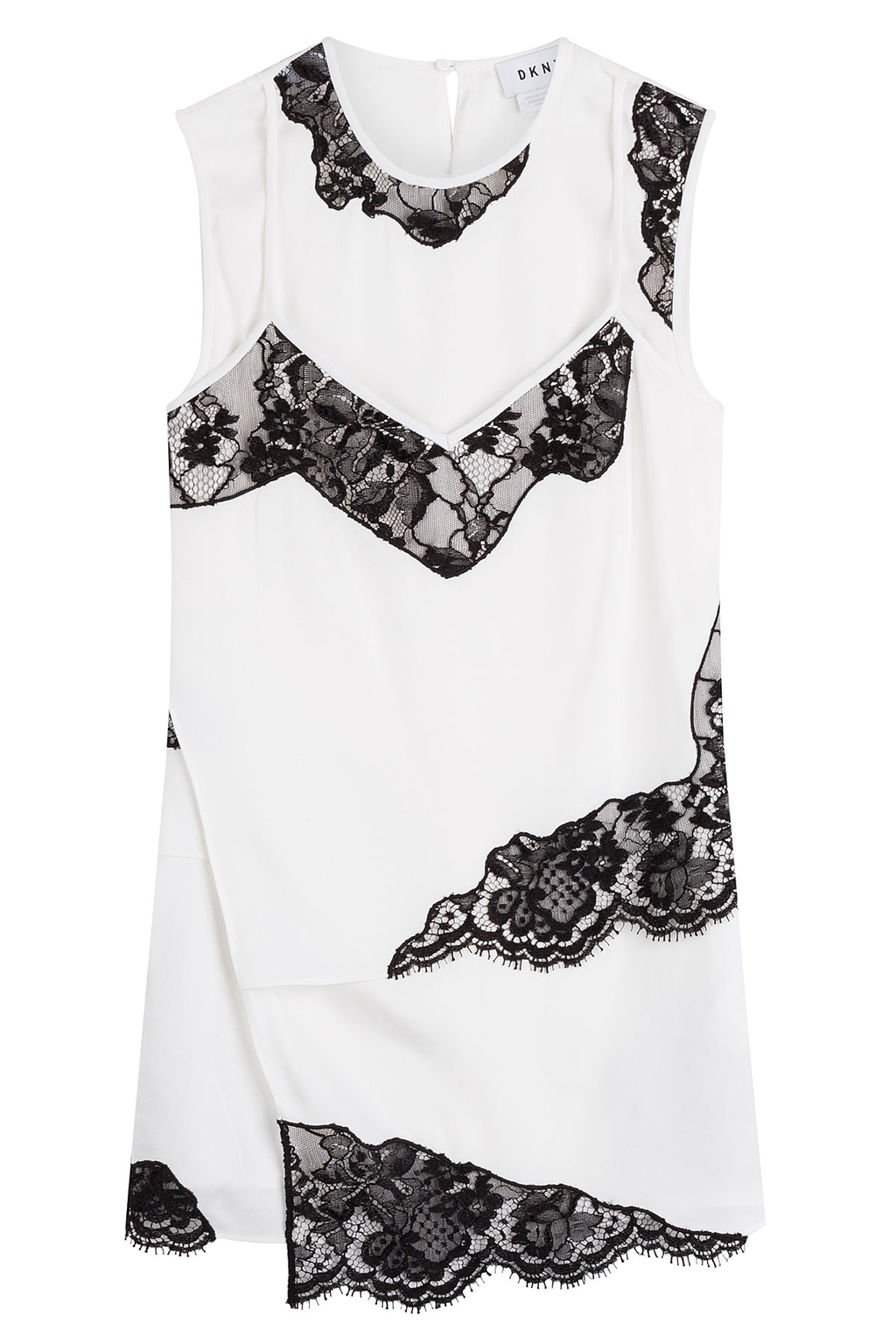 Silk Top With Lace Inserts - neckline: round neck; pattern: plain; sleeve style: sleeveless; predominant colour: white; occasions: casual, creative work; length: standard; style: top; fibres: silk - 100%; fit: loose; sleeve length: sleeveless; texture group: silky - light; pattern type: fabric; embellishment: lace; season: a/w 2016; wardrobe: highlight