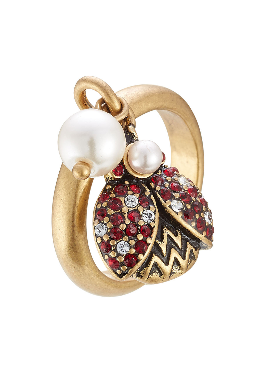 Embellished Ladybird Ring - predominant colour: gold; occasions: evening, occasion; style: band; size: standard; material: chain/metal; finish: metallic; embellishment: jewels/stone; season: a/w 2016; wardrobe: event
