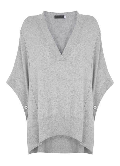 Silver Grey Button Side V Neck Cape - neckline: low v-neck; sleeve style: dolman/batwing; pattern: plain; predominant colour: light grey; occasions: casual, work, creative work; style: standard; fibres: cotton - mix; fit: loose; length: mid thigh; back detail: longer hem at back than at front; sleeve length: 3/4 length; texture group: knits/crochet; pattern type: knitted - fine stitch; wardrobe: basic; season: a/w 2016