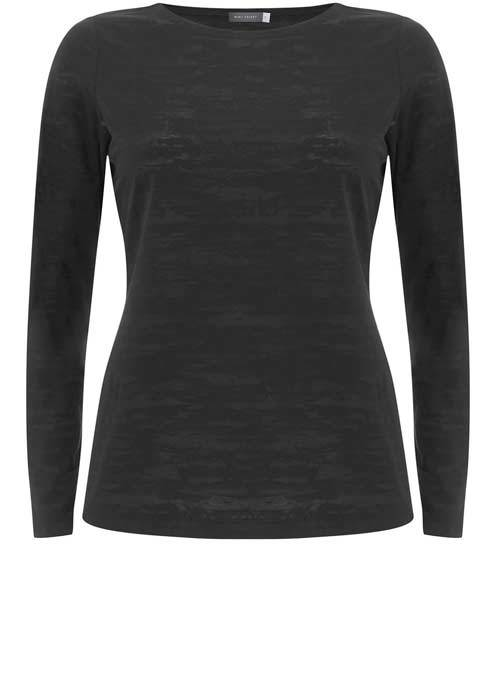 Black Burnout Long Sleeve Tee - neckline: round neck; pattern: plain; style: t-shirt; predominant colour: black; occasions: casual, work, creative work; length: standard; fibres: polyester/polyamide - mix; fit: body skimming; sleeve length: long sleeve; sleeve style: standard; pattern type: fabric; texture group: jersey - stretchy/drapey; wardrobe: basic; season: a/w 2016