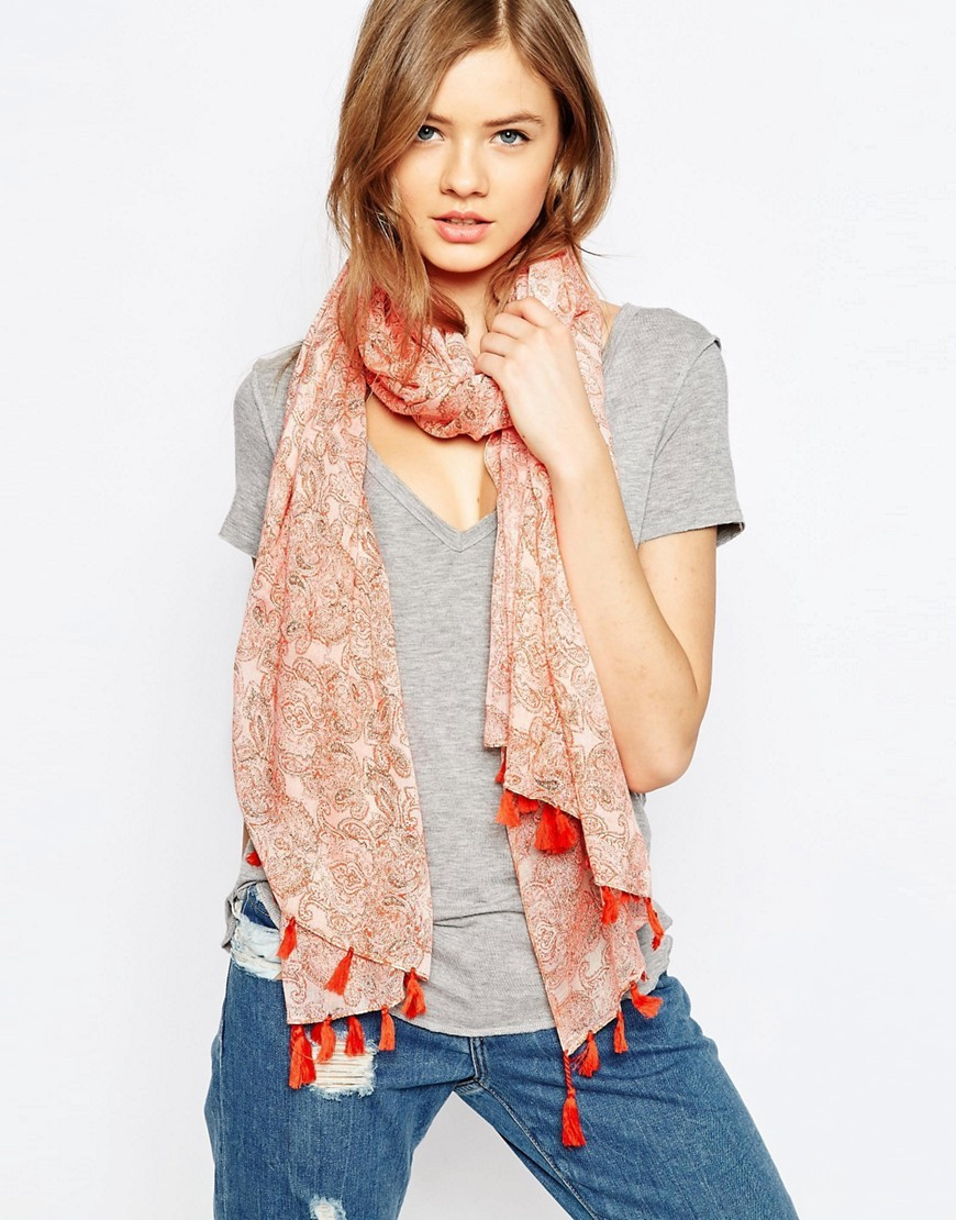 Paisley Folk Print Scarf With Tassels Orange - predominant colour: bright orange; occasions: casual, creative work; type of pattern: heavy; style: regular; size: standard; material: fabric; embellishment: tassels; pattern: paisley; season: a/w 2016; wardrobe: highlight