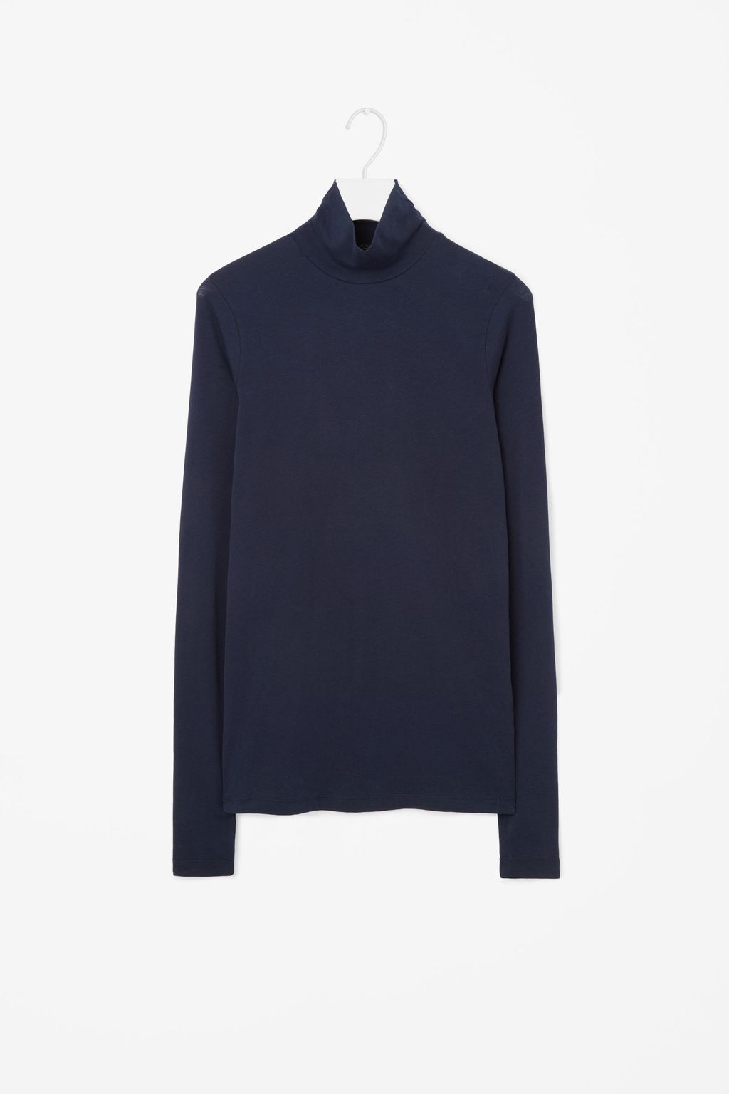 High Neck Jersey Top - pattern: plain; neckline: high neck; predominant colour: navy; occasions: casual; length: standard; style: top; fibres: cotton - 100%; fit: body skimming; sleeve length: long sleeve; sleeve style: standard; pattern type: fabric; texture group: jersey - stretchy/drapey; wardrobe: basic; season: a/w 2016