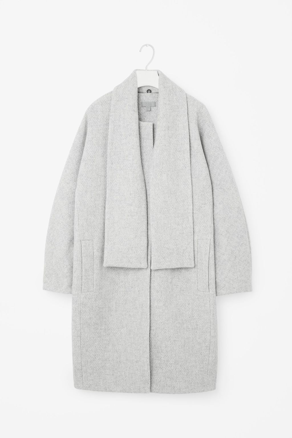 Cocoon Shaped Coat - collar: shawl/waterfall; fit: loose; length: mid thigh; predominant colour: light grey; occasions: casual, creative work; style: cocoon; fibres: wool - mix; sleeve length: long sleeve; sleeve style: standard; collar break: low/open; pattern type: fabric; pattern size: light/subtle; texture group: woven bulky/heavy; pattern: marl; wardrobe: basic; season: a/w 2016