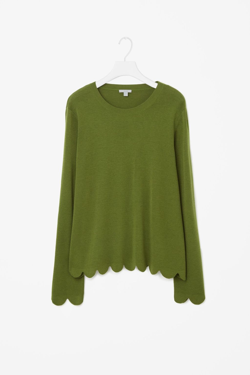 Scalloped Merino Wool Jumper - neckline: round neck; pattern: plain; style: standard; predominant colour: dark green; occasions: casual, creative work; length: standard; fibres: wool - 100%; fit: standard fit; sleeve length: long sleeve; sleeve style: standard; texture group: knits/crochet; pattern type: knitted - fine stitch; season: a/w 2016; wardrobe: highlight