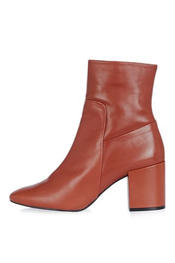 Mint Pointed Ankle Boots - predominant colour: terracotta; occasions: casual, creative work; material: leather; heel height: mid; heel: block; toe: pointed toe; boot length: ankle boot; style: standard; finish: plain; pattern: plain; season: a/w 2016; wardrobe: highlight