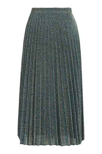 Tall Glitter Pleat Midi Skirt - length: below the knee; pattern: plain; fit: loose/voluminous; style: pleated; waist: high rise; predominant colour: silver; occasions: evening; fibres: polyester/polyamide - mix; hip detail: structured pleats at hip; waist detail: narrow waistband; pattern type: fabric; texture group: woven light midweight; embellishment: glitter; season: a/w 2016; wardrobe: event