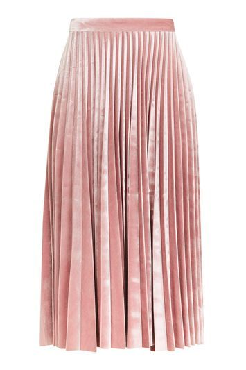 Petite Velvet Pleat Midi Skirt - length: below the knee; pattern: plain; fit: loose/voluminous; style: pleated; waist: high rise; predominant colour: blush; occasions: evening, creative work; fibres: polyester/polyamide - stretch; hip detail: structured pleats at hip; waist detail: narrow waistband; pattern type: fabric; texture group: velvet/fabrics with pile; season: a/w 2016