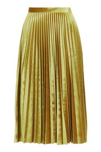 Petite Velvet Pleat Midi Skirt - length: below the knee; pattern: plain; fit: loose/voluminous; style: pleated; waist: high rise; predominant colour: gold; occasions: evening, creative work; fibres: polyester/polyamide - stretch; hip detail: adds bulk at the hips; waist detail: feature waist detail; pattern type: fabric; texture group: velvet/fabrics with pile; season: a/w 2016; wardrobe: highlight; trends: velvet