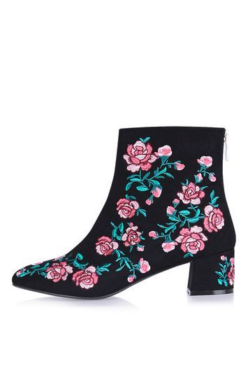 Blossom Embroidery Boots - secondary colour: pink; predominant colour: black; occasions: evening, creative work; material: fabric; heel height: mid; embellishment: embroidered; heel: block; toe: round toe; boot length: ankle boot; style: standard; finish: plain; pattern: florals; multicoloured: multicoloured; season: a/w 2016; wardrobe: highlight