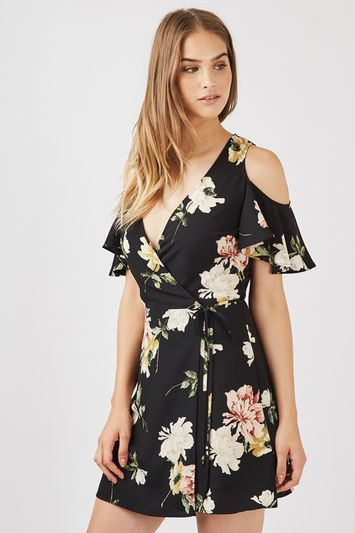 Floral Cold Shoulder Wrap Dress - style: faux wrap/wrap; length: mini; neckline: low v-neck; sleeve style: angel/waterfall; waist detail: belted waist/tie at waist/drawstring; secondary colour: coral; predominant colour: black; occasions: evening; fit: soft a-line; fibres: polyester/polyamide - 100%; hip detail: soft pleats at hip/draping at hip/flared at hip; shoulder detail: cut out shoulder; sleeve length: short sleeve; texture group: crepes; pattern type: fabric; pattern size: standard; pattern: florals; multicoloured: multicoloured; season: a/w 2016