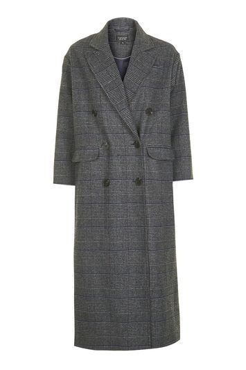 Check Slouch Coat - pattern: checked/gingham; style: double breasted; collar: standard lapel/rever collar; predominant colour: charcoal; secondary colour: black; occasions: casual, creative work; fit: straight cut (boxy); fibres: wool - mix; length: below the knee; sleeve length: 3/4 length; sleeve style: standard; collar break: medium; pattern type: fabric; pattern size: standard; texture group: woven bulky/heavy; season: a/w 2016; wardrobe: highlight