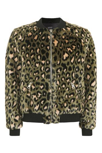 Leopard Faux Fur Bomber Jacket - collar: round collar/collarless; style: bomber; secondary colour: nude; predominant colour: khaki; occasions: casual, creative work; length: standard; fit: straight cut (boxy); fibres: acrylic - 100%; sleeve length: long sleeve; sleeve style: standard; texture group: fur; collar break: high; pattern type: fabric; pattern size: standard; pattern: animal print; season: a/w 2016; wardrobe: highlight