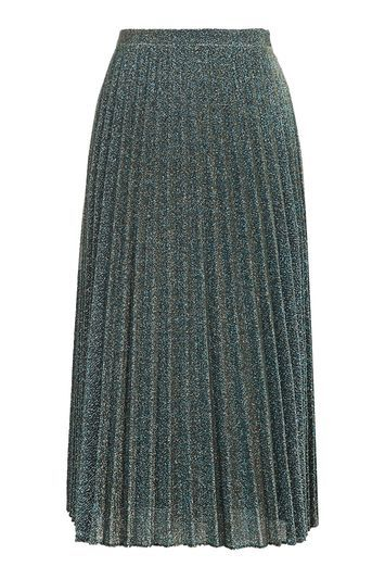 Glitter Pleat Midi Skirt - length: below the knee; pattern: plain; fit: loose/voluminous; style: pleated; waist: high rise; predominant colour: dark green; occasions: evening, creative work; fibres: polyester/polyamide - mix; hip detail: adds bulk at the hips; waist detail: feature waist detail; pattern type: fabric; texture group: woven light midweight; embellishment: glitter; trends: pretty girl; season: a/w 2016; wardrobe: highlight