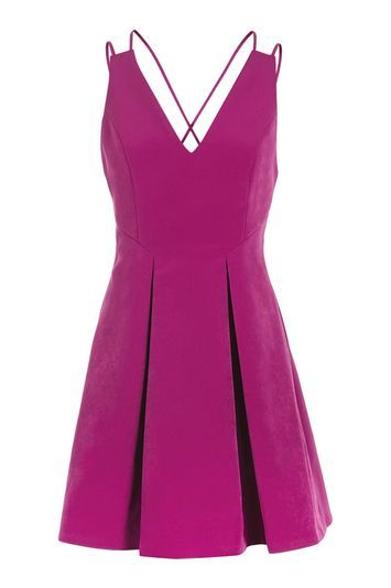 Strappy Bonded Mini Dress - length: mid thigh; neckline: low v-neck; pattern: plain; sleeve style: sleeveless; waist detail: fitted waist; predominant colour: magenta; occasions: evening; fit: fitted at waist & bust; style: fit & flare; fibres: polyester/polyamide - 100%; hip detail: adds bulk at the hips; back detail: crossover; sleeve length: sleeveless; texture group: crepes; pattern type: fabric; trends: pretty girl; season: a/w 2016; wardrobe: event