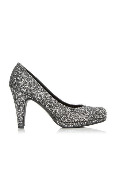 Silver Glitter Platform Court Shoe - predominant colour: silver; occasions: evening, occasion; material: faux leather; heel height: high; embellishment: glitter; heel: standard; toe: round toe; style: courts; finish: metallic; pattern: plain; shoe detail: platform; season: a/w 2016; wardrobe: event
