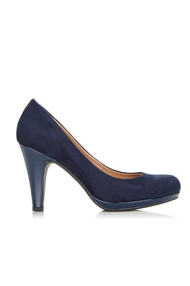 Navy Faux Suede Platform Court Shoe - predominant colour: black; occasions: evening, work; material: faux leather; heel height: high; embellishment: glitter; heel: stiletto; toe: round toe; style: courts; finish: metallic; pattern: plain; season: a/w 2016