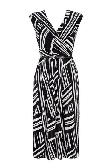 Monochrome Geometric Print Wrap Dress - style: faux wrap/wrap; neckline: v-neck; sleeve style: sleeveless; pattern: striped; waist detail: belted waist/tie at waist/drawstring; secondary colour: white; predominant colour: black; length: on the knee; fit: fitted at waist & bust; fibres: polyester/polyamide - stretch; occasions: occasion, creative work; hip detail: subtle/flattering hip detail; sleeve length: sleeveless; pattern type: fabric; pattern size: standard; texture group: jersey - stretchy/drapey; season: a/w 2016; wardrobe: highlight; trends: opulent prints