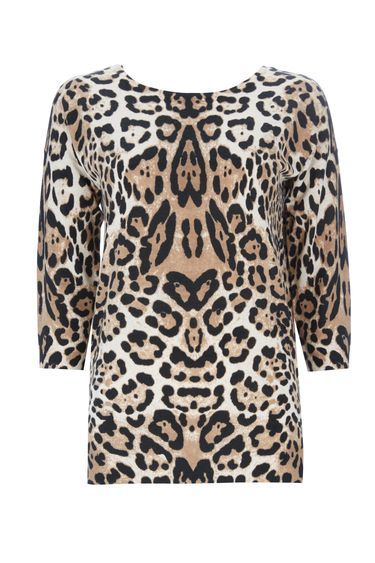 Petite Animal Print Jumper - neckline: slash/boat neckline; length: below the bottom; style: standard; predominant colour: camel; secondary colour: black; occasions: casual, creative work; fibres: polyester/polyamide - mix; fit: standard fit; sleeve length: 3/4 length; sleeve style: standard; texture group: knits/crochet; pattern type: knitted - fine stitch; pattern size: standard; pattern: animal print; multicoloured: multicoloured; season: a/w 2016; wardrobe: highlight