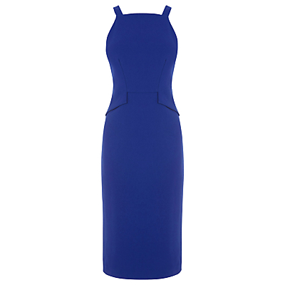 Pinafore Bonded Dress - length: below the knee; fit: tailored/fitted; pattern: plain; sleeve style: sleeveless; style: dungaree dress/pinafore; waist detail: peplum waist detail; predominant colour: royal blue; occasions: evening; fibres: polyester/polyamide - 100%; sleeve length: sleeveless; neckline: medium square neck; pattern type: fabric; texture group: woven light midweight; season: a/w 2016; wardrobe: event