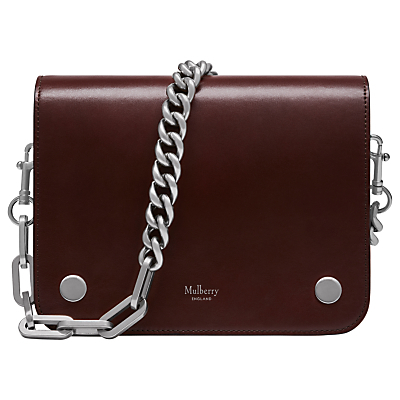 Clifton Crossboarded Calf Leather Across Body Bag, Burgundy - predominant colour: burgundy; occasions: casual, creative work; type of pattern: standard; style: shoulder; length: across body/long; size: standard; material: leather; pattern: plain; finish: plain; embellishment: chain/metal; season: a/w 2016; wardrobe: highlight