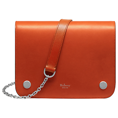 Clifton Smooth Calf Leather Across Body Bag, Bright Orange - predominant colour: bright orange; occasions: casual, creative work; type of pattern: standard; style: messenger; length: shoulder (tucks under arm); size: standard; material: leather; pattern: plain; finish: plain; embellishment: chain/metal; season: a/w 2016; wardrobe: highlight