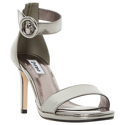 Miami Stiletto Heeled Court Shoes - predominant colour: silver; occasions: evening, occasion; material: suede; ankle detail: ankle strap; heel: stiletto; toe: open toe/peeptoe; style: standard; finish: plain; pattern: plain; heel height: very high; season: a/w 2016; wardrobe: event