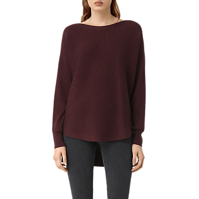 Esia Jumper - neckline: slash/boat neckline; sleeve style: dolman/batwing; pattern: plain; style: standard; predominant colour: burgundy; occasions: casual, creative work; length: standard; fibres: wool - mix; fit: loose; sleeve length: long sleeve; texture group: knits/crochet; pattern type: knitted - fine stitch; season: a/w 2016; wardrobe: highlight