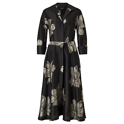 Floral Jacquard Tie Dress, Black - style: shirt; length: calf length; neckline: shirt collar/peter pan/zip with opening; fit: loose; waist detail: belted waist/tie at waist/drawstring; secondary colour: champagne; predominant colour: black; occasions: evening; sleeve length: 3/4 length; sleeve style: standard; pattern type: fabric; pattern size: big & busy; pattern: florals; texture group: brocade/jacquard; fibres: viscose/rayon - mix; multicoloured: multicoloured; season: a/w 2016; wardrobe: event