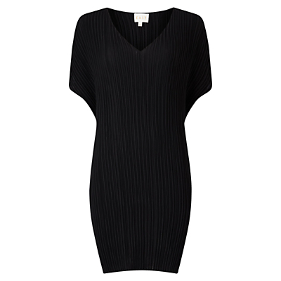 V Neck Pleat Tunic Dress - style: shift; neckline: v-neck; fit: loose; pattern: plain; predominant colour: black; occasions: evening; length: just above the knee; fibres: polyester/polyamide - 100%; sleeve length: short sleeve; sleeve style: standard; texture group: sheer fabrics/chiffon/organza etc.; pattern type: fabric; pattern size: standard; season: a/w 2016; wardrobe: event