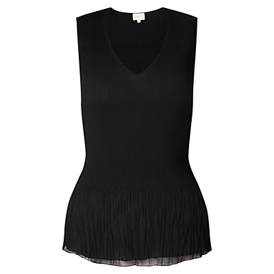 Pleated Vest Top, Black - neckline: v-neck; pattern: plain; sleeve style: sleeveless; predominant colour: black; occasions: work, occasion; length: standard; style: top; fibres: polyester/polyamide - 100%; fit: tailored/fitted; sleeve length: sleeveless; texture group: sheer fabrics/chiffon/organza etc.; pattern type: fabric; wardrobe: basic; season: a/w 2016