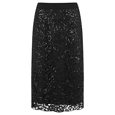 Embellished Lace Pencil Skirt, Black - length: below the knee; style: pencil; fit: tailored/fitted; waist: high rise; predominant colour: black; fibres: polyester/polyamide - 100%; occasions: occasion; texture group: lace; pattern type: fabric; pattern: patterned/print; pattern size: standard (bottom); season: a/w 2016; wardrobe: event; trends: sparkle