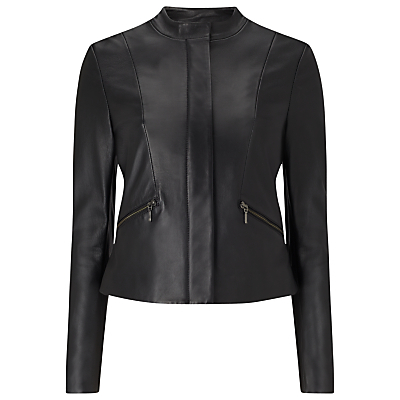 Michelle Leather Jacket, Black - pattern: plain; style: biker; collar: standard biker; predominant colour: black; occasions: casual, creative work; length: standard; fit: tailored/fitted; fibres: leather - 100%; sleeve length: long sleeve; sleeve style: standard; texture group: leather; collar break: high/illusion of break when open; pattern type: fabric; wardrobe: basic; season: a/w 2016