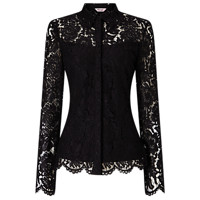 Liv Lace Shirt, Black - neckline: shirt collar/peter pan/zip with opening; predominant colour: black; occasions: evening, occasion; length: standard; style: top; fibres: polyester/polyamide - 100%; fit: tailored/fitted; sleeve length: long sleeve; sleeve style: standard; texture group: lace; pattern type: fabric; pattern size: standard; pattern: patterned/print; embellishment: lace; season: a/w 2016; wardrobe: event