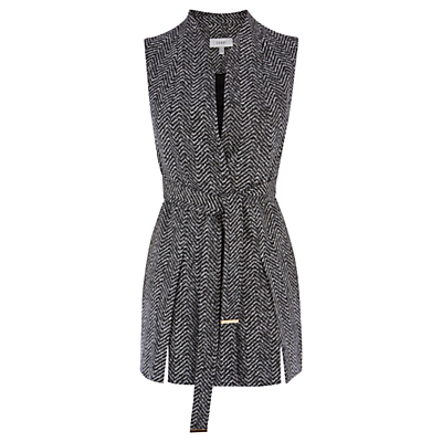 Likka Sleeveless Jacket, Grey - sleeve style: sleeveless; length: below the bottom; collar: standard lapel/rever collar; pattern: herringbone/tweed; predominant colour: mid grey; occasions: casual, creative work; fit: tailored/fitted; fibres: polyester/polyamide - mix; style: waistcoat; waist detail: belted waist/tie at waist/drawstring; sleeve length: sleeveless; collar break: medium; pattern type: fabric; pattern size: standard; texture group: woven light midweight; season: a/w 2016; wardrobe: highlight