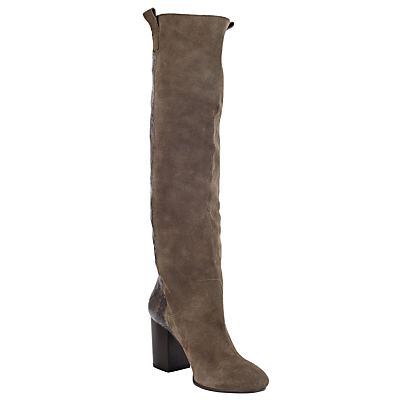Topaz Long Boots, Grey/Snake - predominant colour: mid grey; occasions: casual; material: suede; heel height: high; heel: block; toe: round toe; boot length: over the knee; style: standard; finish: plain; pattern: plain; wardrobe: investment; season: a/w 2016