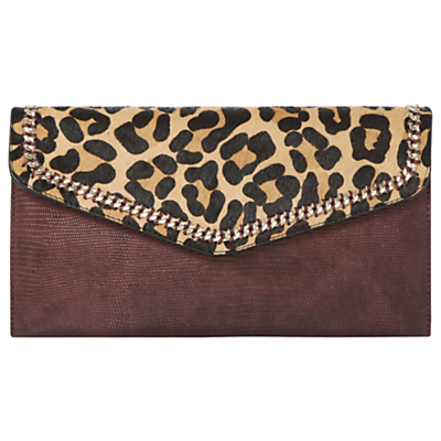 Elaine Envelope Clutch Bag, Leopard - predominant colour: burgundy; secondary colour: camel; occasions: evening; type of pattern: light; style: clutch; length: hand carry; size: small; material: faux leather; pattern: animal print; finish: plain; season: a/w 2016; wardrobe: event