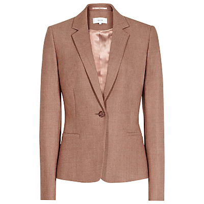 Tailored Peplum Jacket, Chestnut Melange - pattern: plain; style: single breasted blazer; collar: standard lapel/rever collar; predominant colour: taupe; occasions: casual, creative work; length: standard; fit: tailored/fitted; fibres: wool - stretch; sleeve length: long sleeve; sleeve style: standard; collar break: low/open; pattern type: fabric; texture group: woven light midweight; wardrobe: basic; season: a/w 2016