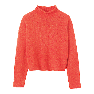 Soft Spun Merino Roll Neck Jumper, Sunset Orange - neckline: round neck; pattern: plain; length: cropped; style: standard; predominant colour: bright orange; occasions: casual, creative work; fibres: wool - 100%; fit: standard fit; sleeve length: long sleeve; sleeve style: standard; texture group: knits/crochet; pattern type: knitted - fine stitch; season: a/w 2016