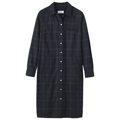 Smokey Plaid Shirt Dress, Navy Multi - style: shirt; neckline: shirt collar/peter pan/zip with opening; pattern: checked/gingham; secondary colour: burgundy; predominant colour: navy; occasions: casual, creative work; length: on the knee; fit: straight cut; fibres: wool - stretch; sleeve length: long sleeve; sleeve style: standard; pattern type: fabric; pattern size: standard; texture group: woven light midweight; season: a/w 2016; wardrobe: highlight