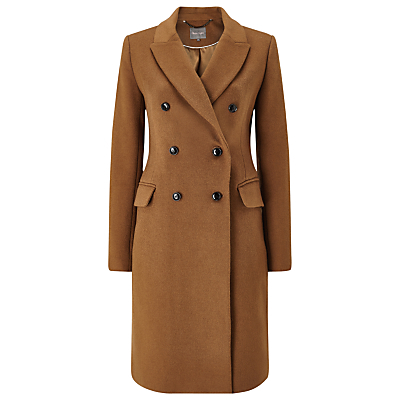 Caterina Coat, Camel - pattern: plain; collar: wide lapels; style: double breasted; predominant colour: tan; occasions: work; fit: tailored/fitted; fibres: polyester/polyamide - 100%; length: below the knee; sleeve length: long sleeve; sleeve style: standard; collar break: medium; pattern type: fabric; texture group: woven bulky/heavy; season: a/w 2016; wardrobe: highlight