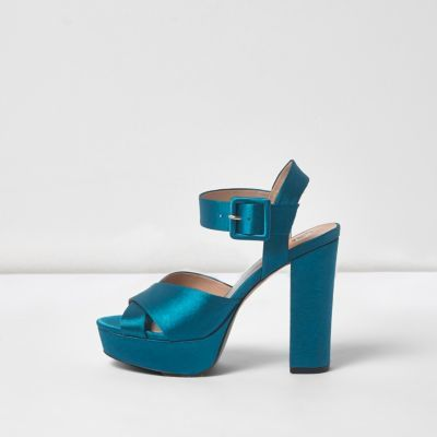 Womens Blue Satin Cross Strap Platform Heels - predominant colour: teal; occasions: evening, occasion; material: satin; ankle detail: ankle strap; heel: block; toe: open toe/peeptoe; style: strappy; finish: plain; pattern: plain; heel height: very high; shoe detail: platform; season: a/w 2016