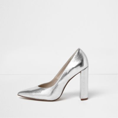 Womens Silver Block Heel Court Shoes - predominant colour: silver; occasions: evening, occasion; material: leather; heel: block; toe: pointed toe; style: courts; finish: metallic; pattern: plain; heel height: very high; season: a/w 2016; wardrobe: event