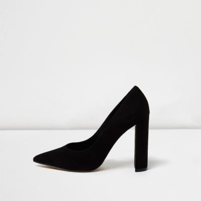 Womens Black Pointed Block Heel Court Shoes - predominant colour: black; occasions: evening, occasion, creative work; material: suede; heel: block; toe: pointed toe; style: courts; finish: plain; pattern: plain; heel height: very high; season: a/w 2016