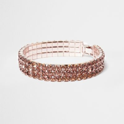 Womens Rose Gold Tone Sparkly Bracelet - predominant colour: gold; occasions: evening, occasion; style: bangle/standard; size: standard; material: chain/metal; finish: metallic; embellishment: jewels/stone; season: a/w 2016; wardrobe: event
